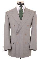 Ermenegildo Zegna Gray Blue Glen Plaid Double Breasted Wool Suit Jacket Pant 40R