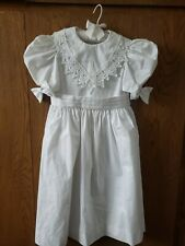 Vtg Ruth of Carolina Girls White Dress 5-6 Lace Puff Sleeves Victorian Easter