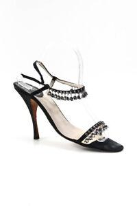 Dior Womens Satin Jingly Bells Strappy Sandal Heels Black Size 40 10