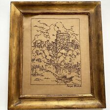 Vintage Framed Embroidery Needlepoint ROYAL WINDSOR CASTLE