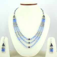 NATURAL BLUE CHALCEDONY GEMSTONE FACETED BEADED NECKLACE EARRINGS 46 GRAMS 4 MM