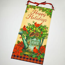 Happy Holidays Christmas Cardinals Poinsettia Holly Pine Water Can Wall Hanging