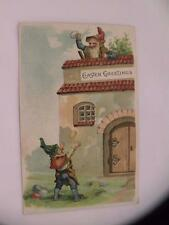 """VINTAGE POSTCARD FANTASY GNOMES """"EASTER GREETINGS"""" POSTED"""