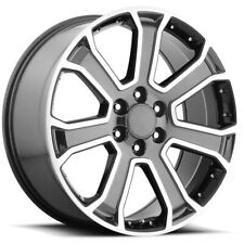 "4-Replica 166 GM 24x10 6x5.5"" +31mm Gunmetal/Machined Wheels Rims 24"" Inch"