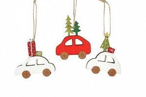 Gisela Graham Set of 3 Red/White Wooden Car Hanging Christmas Tree Decorations