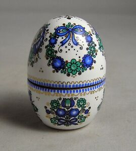 Arta Austria  Hand Painted Flowers Enamel Brass Egg Thimble Trinket Box