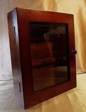 SOLID WOOD WALL MOUNTED KEY RACK CABINET Walnut Stain, Clear Glass Beveled Door