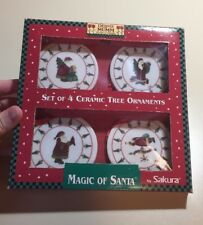 Debbie Mumm 1998 Magic of Santa Ceramic Tree Ornaments Sakura Set of 4