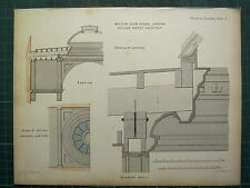 1858 CARPENTARY JOINERY ARCHITECTURE PRINT ~ MILTON CLUB HOUSE WILLIAM WRIGHT