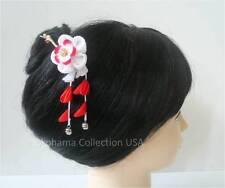 "Japanese Handmade Kimono ""UME"" Flower Tsumami Kanzashi Chirimen Fabric/ Clip/100"