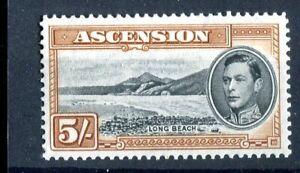 Ascension KGVI 1938-53 5s black & yellow-brown  p13 SG46a CW24 MLH