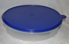 "Tupperware Pie Cookies Pizza Container 12"" Large Round Bold N Blue Seal New"