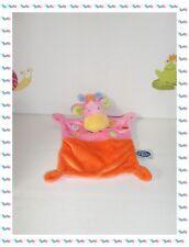 ♪ - Doudou Semi Plat  Girafe Rose / Orange  Broderies Mots d'Enfants