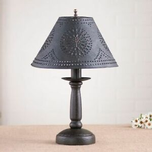 Butcher's Lamp in Americana Black with Textured Black Tin Shade