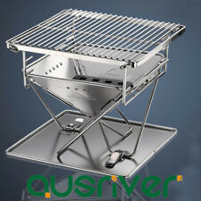Portable Stainless Steel Barrel Charcoal Grill BBQ Barbecue Outdoor Camping AU