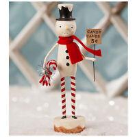 "Bethany Lowe 8"" Snowman Candy Cane Lane Christmas Retro Vntg Decor Figurine"