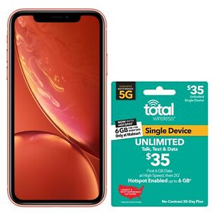 Total Wireless Apple iPhone XR, 64GB, Coral - Prepaid Smartphone + $35 UNLIMITED