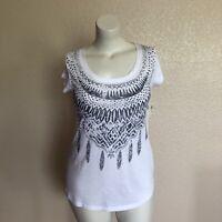 LUCKY BRAND Womens White Blue Graphic Tee Shirt Size M Medium NWT