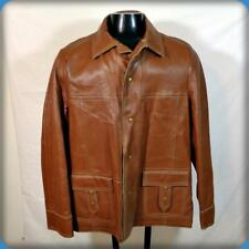 WB W.B. PLACE Vintage USA WESTERN DEERSKIN Leather JACKET Mens Size L 44 Brown