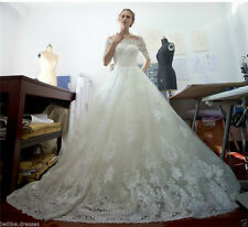 New Lace White/Ivory Half Sleeve Wedding Dress Bridal Gown Custom Size 6 8 10 12