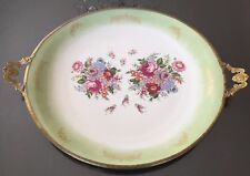 Limoges Mint Green Floral Desert Or Decorative Plate With Gold Handles