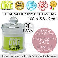 90 x Clear Glass Jars w/Airtight Lid 100ml Multi Purpose Jars Kitchen Wedding
