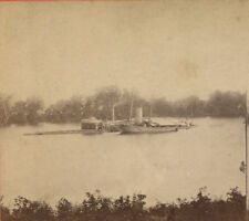 CIVIL WAR VIEW, THE MONITOR ON THE JAMES RIVER. VINTAGE ORIGINAL STEREOVIEW.