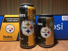2017 Pittsburgh Steelers NFL Football 16 and 12 Ounce Pepsi Can FULL