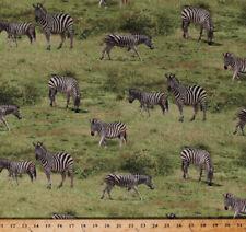 Zebras Animals Wildlife African Safari Savanna Cotton Fabric Print BTY D482.25