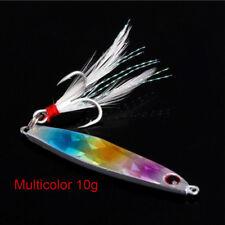 Top Fishing Lure Lead Fish Metal Jigging Wobbler Crankbaits Bass Feather Hook AU Multicolor 40g