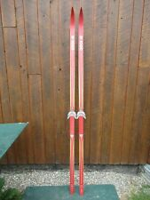 """New listing Nice Old Vintage Wooden 84"""" Snow Skis Has Red Finish Great Decoration"""
