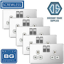5x BG Screwless Double Socket Polished Chrome White Inserts FPC22W 13 Amp 2 Gang