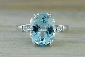 3Ct Oval Cut Aquamarine & Diamond Solitaire Engagement Ring 14K White Gold Over
