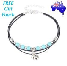 Turquoise Beads Elephant Charm Anklet Ankle Bracelet Hippy Festival Gypsie Boho