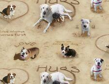 Fat quarter sable ble amour et câlins's hunde, Welpen, 100% baumwoll-stoff