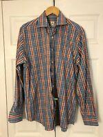 Peter Millar Blue Orange White Plaid Shirt Size Large Weekender Finish