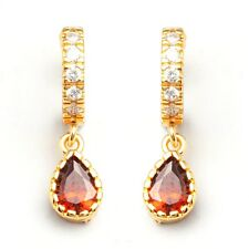 24K Gold Filled Red C.Z Stone Women's Hoop Earrings Sexy Jewelry Gift Box Pack
