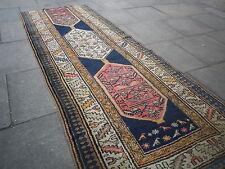"""Shabbychic fragment Handmade Oriental en laine bleue Runner 297x109cm 9'10""""x3'8"""""""