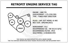 1989 TPI 5.7L Camaro Z28 Retrofit Engine Service Tag Belt Routing Diagram Decal