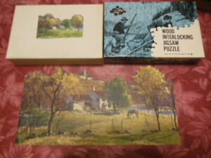 Vintage JK Straus Interlocking Wood Jigsaw Puzzle At Home In The Country 200 pcs