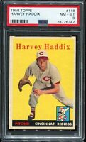 1958 Topps Baseball #118 HARVEY HADDIX Cincinnati Redlegs PSA 8 NM-MT