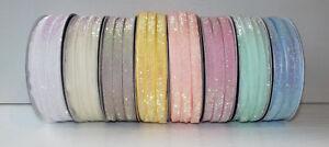 """Glitter Sparkle Ribbon 10mm (3/8"""") wide 1m 2m 5m lengths 8 Pastel Colours"""