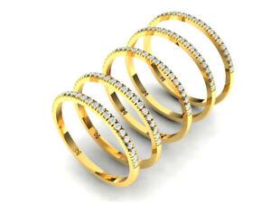 Solid 14K Gold Half Eternity Band 23 Natural Diamonds Thumb Ring Stacking Ring