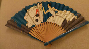 rare Red Star Line Advertising Fan of Pierrot kissing lady's hand c 1930 VG+