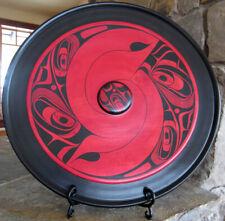 "Harris Smith Lrg Northwest Coast Native Indian Hand Painted Maple Plate 20"""
