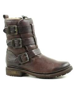 New NIB Frye Valerie Strappy Leather & Shearling Motorcycle Boots Dark Brown 6