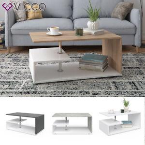 VICCO Table basse Table de salon Table d'appoint blanc béton anthracite chêne