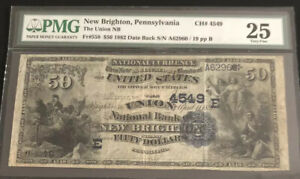 1882-$50DB-the UNB of NEW BRIGHTON, PA-S/N (19). It's the only known note fr PA.