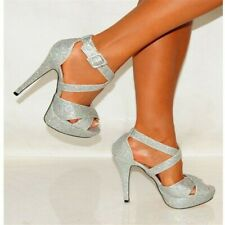 Women Sexy Sequin High Heels Ankle Strap Peep Toe Platform Shoes Party Nightclub