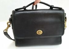 Vintage COACH Court Black Leather Crossbody Messenger Purse Bag - USA Made